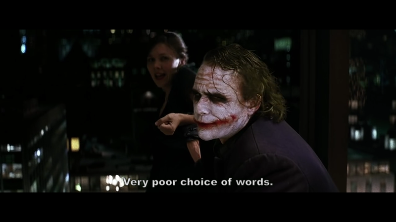 Image showing 'The Joker' from Batman series threatening to push 'Rachel Dawes' from a height